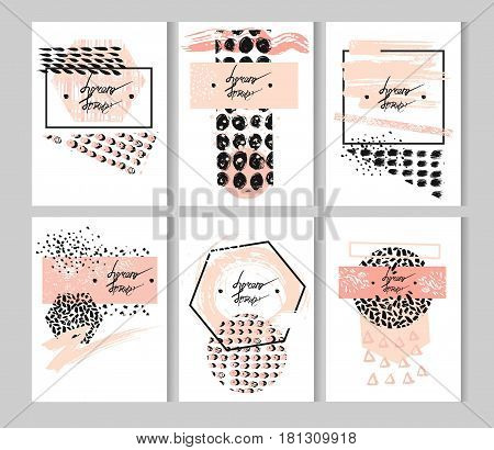 Hand drawn vector abstract textured minimalist template cards set with place for your textin pastel colors.Abstract brush textured minimal posters.Design for greetingdecorationprint.