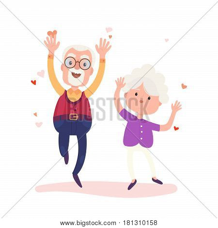 Grandparents characters are together forever in love. Stock vector Valentine's Day concept illustration. Old cute loving couple isolated on white background. Happy people.