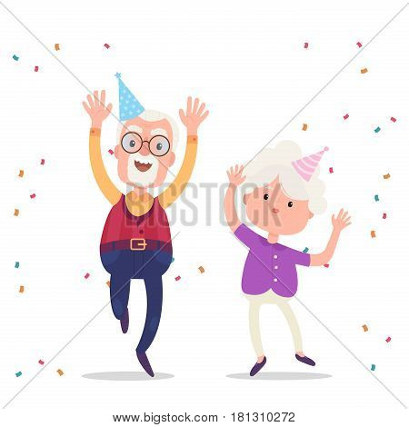 Happy grandparents celebrate the birthday party. Happy grandparents day poster. Vector illustration in cartoon style.