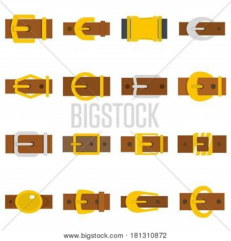 Belt buckles icons set in flat style isolated vector illustration