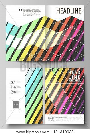 Business templates for bi fold brochure, magazine, flyer, booklet or annual report. Cover design template, easy editable vector, abstract flat layout in A4 size. Bright color rectangles, colorful design with geometric rectangular shapes forming abstract b