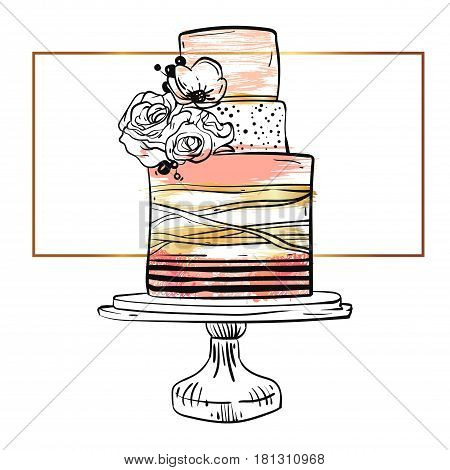 Hand drawn vector cute birthday or wedding template card with cake illustration in goldpastelblack and white colorswith stripes and flowers decoration on cake stand isolated on white background