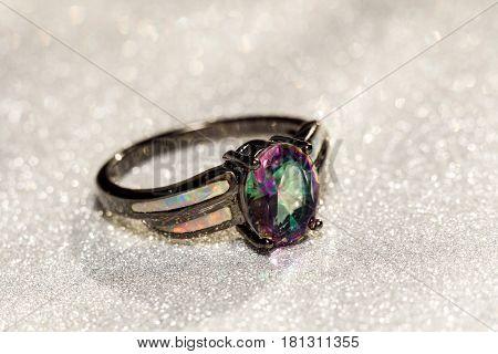 Rainbow Topaz Ring