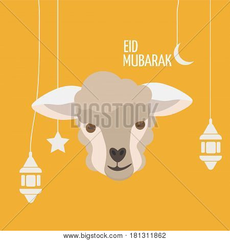 Eid Mubarak Greeting card with sheep face or lamb head, ramadan lanern, moon and stars. Eid al-adha poster. Festival of the Sacrifice template.