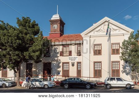GRAAFF REINET SOUTH AFRICA - MARCH 23 2017: A street scene in Graaff Reinet with the magistrate office in the back