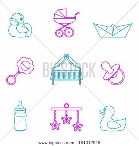 Vector illustration of baby and kids color set icons
