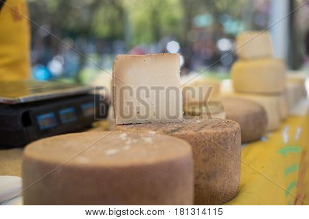 Close Up Of Sliced Cheese Shape
