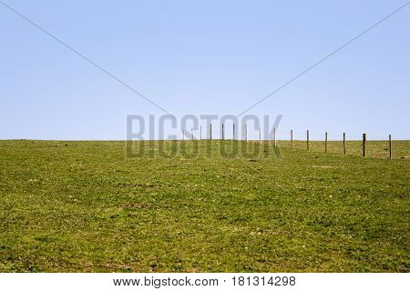 A field and fence with a blue sky background