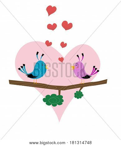 Two cute birds on branch. Illustration for Valentine day. Vector