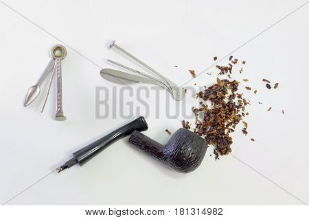 Smoking Set: Tamper, Cleaner (multitool), Wooden Pipe With Metal Filter (cooler) And Scattered Tobac