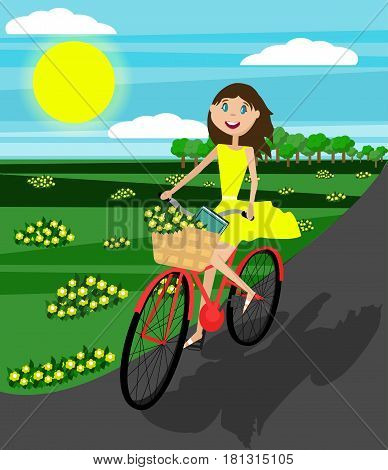 Happy girl on the bicycle. Vector. Flat Design. Young beautiful girl riding a bicycle with busket full of yellow flowers and a book