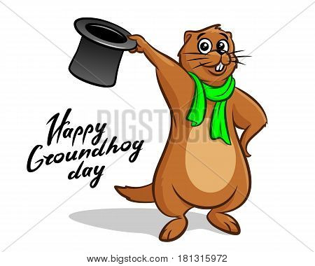 Happy Groundhog Day. Lettering text for greeting card. Vector cartoon illustration