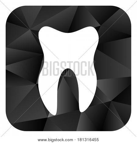 Tooth black color web modern brillant design square internet icon on white background.