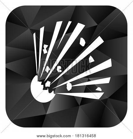 Bomb black color web modern brillant design square internet icon on white background.