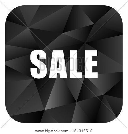Sale black color web modern brillant design square internet icon on white background.