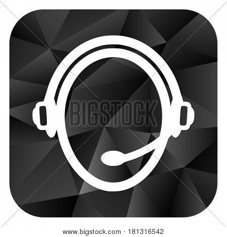 Customer service black color web modern brillant design square internet icon on white background.