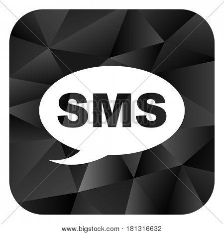 Sms black color web modern brillant design square internet icon on white background.