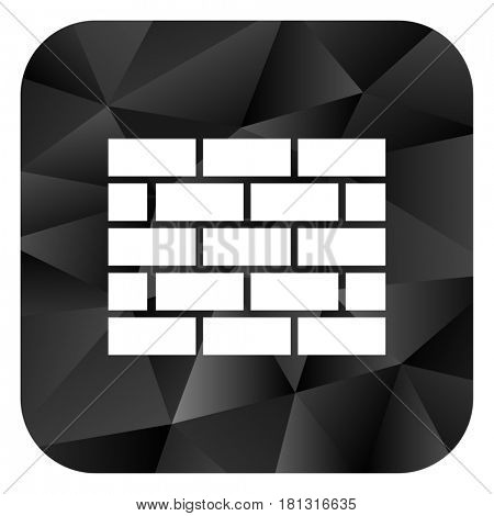 Firewall black color web modern brillant design square internet icon on white background.
