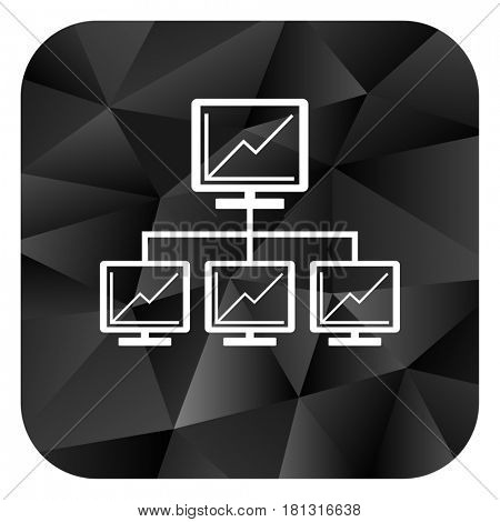 Network black color web modern brillant design square internet icon on white background.