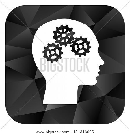 Head black color web modern brillant design square internet icon on white background.