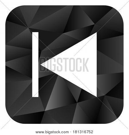 Prev black color web modern brillant design square internet icon on white background.
