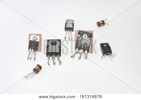 transistors and high-frequency inductance coils. Set of electronic components