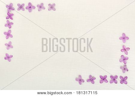 lilac flowers on rice paper with copy space