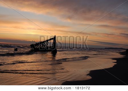 Peter Iredale Shipwreck At Sunset