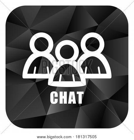 Chat black color web modern brillant design square internet icon on white background.