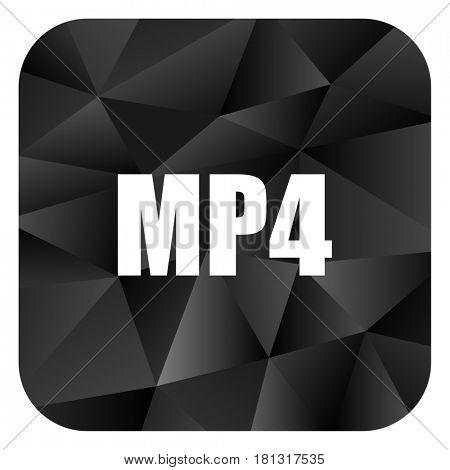 MP4 black color web modern brillant design square internet icon on white background.