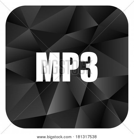 Mp3 black color web modern brillant design square internet icon on white background.