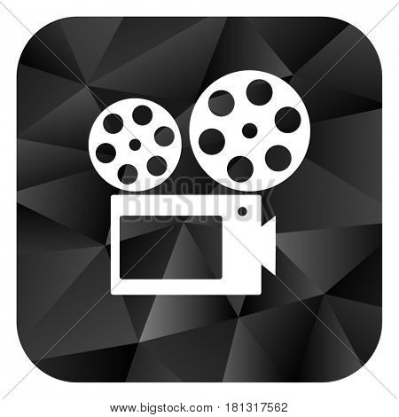 Movie black color web modern brillant design square internet icon on white background.