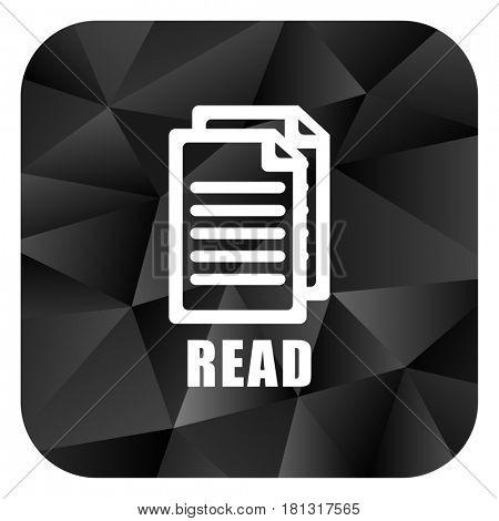 Read black color web modern brillant design square internet icon on white background.
