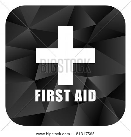 First aid black color web modern brillant design square internet icon on white background.