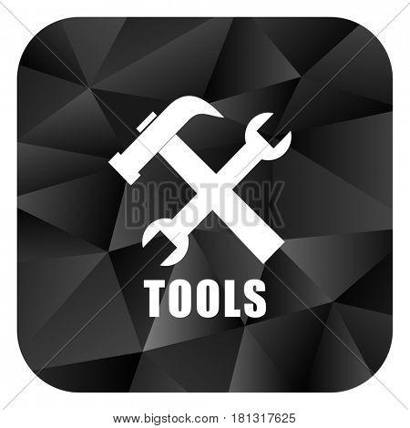 Tools black color web modern brillant design square internet icon on white background.