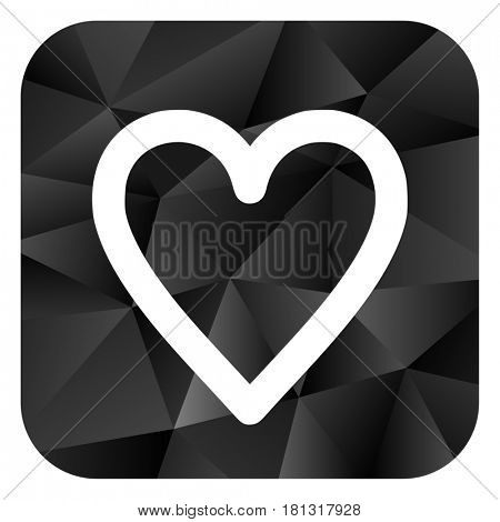 Heart black color web modern brillant design square internet icon on white background.