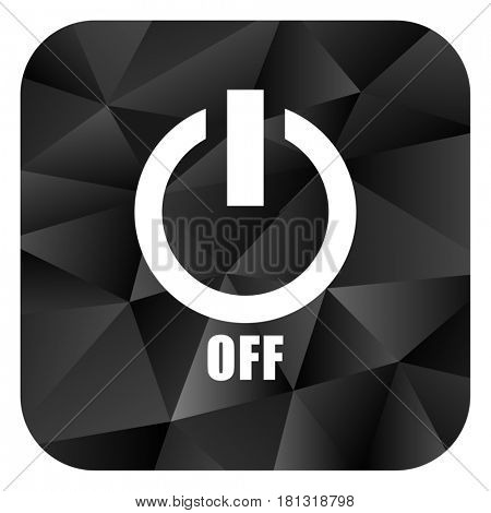 Power off black color web modern brillant design square internet icon on white background.
