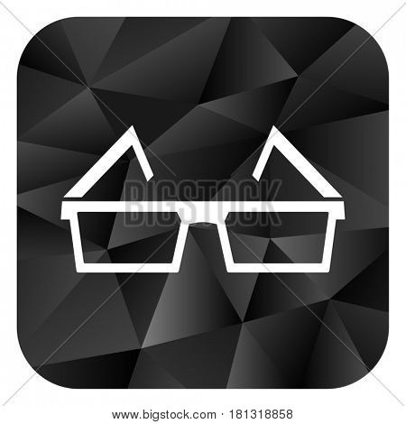 3d glasses black color web modern brillant design square internet icon on white background.