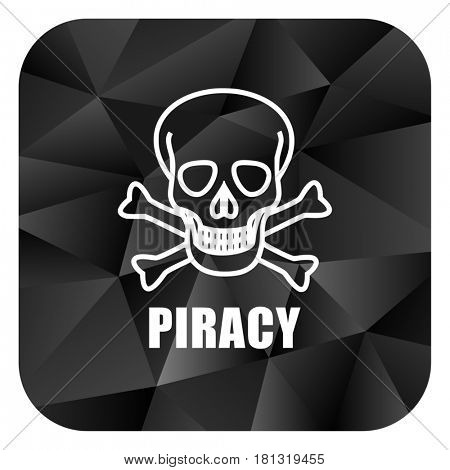 Piracy skull black color web modern brillant design square internet icon on white background.