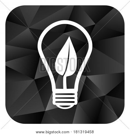 Green energy light bulb black color web modern brillant design square internet icon on white background.