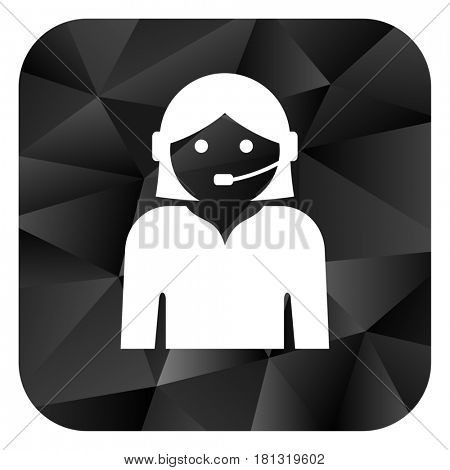 Female black color web modern brillant design square internet icon on white background.