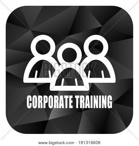 Corporate training black color web modern brillant design square internet icon on white background.