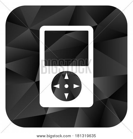 Multimedia player black color web modern brillant design square internet icon on white background.