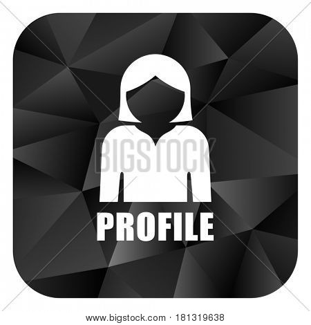 Profile black color web modern brillant design square internet icon on white background.