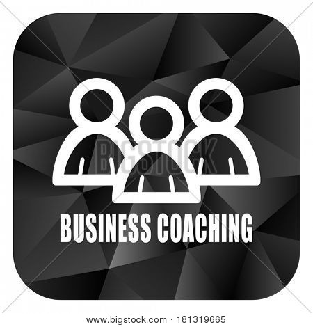 Business coaching black color web modern brillant design square internet icon on white background.