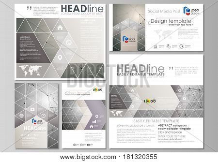 Social media posts set. Business templates. Easy editable abstract flat design template, vector layouts in popular formats. Chemistry pattern, molecule structure on gray background. Science and technology concept.
