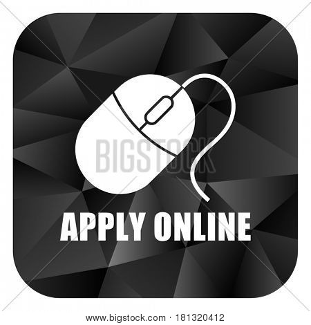 Apply online black color web modern brillant design square internet icon on white background.