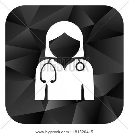 Doctor black color web modern brillant design square internet icon on white background.