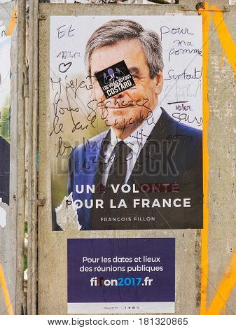 STRASBOURG FRANCE - APR 12 2017: Official campaign posters of François Fillon political party leader of Les Republicains (LR) ones of the eleven candidates running in the 2017 French presidential election