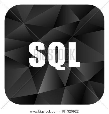 Sql black color web modern brillant design square internet icon on white background.